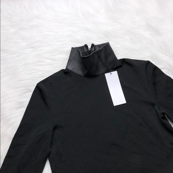 Helmut Lang Black Leather Neck Bondage Jersey Top